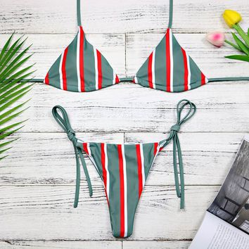 Red And Green Stripe Bikini