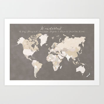 Wanderlust definition map in earth tones - white names Art Print by blursbyaiShop