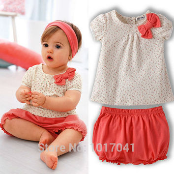 New casual summer baby girl clothes floral tops + shorts 2pcs baby girl clothing set newborn