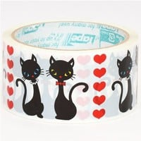 Red Heart Black Cat Deco Tape adhesive Stickers DTB78 by CharmTape