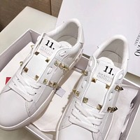 Valentino Popular Woman Casual Rivet Sport Shoes Sneakers White I-AHD-HNXG-ZD