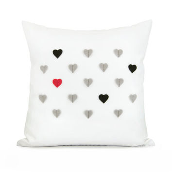 Tiny hearts pillow case Black gray and red by ClassicByNature