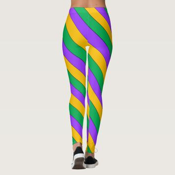 Mardi Gras Stripes Pattern Purple Green Yellow Leggings