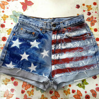 AMERiCAN FLAG SHORTS Denim Shorts High Waisted Shorts Levis Shorts US Shorts Coachella Denim Shorts Patriotic Shorts American Flag Shorts