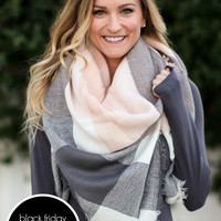 Square Act Blanket Scarf - Gray