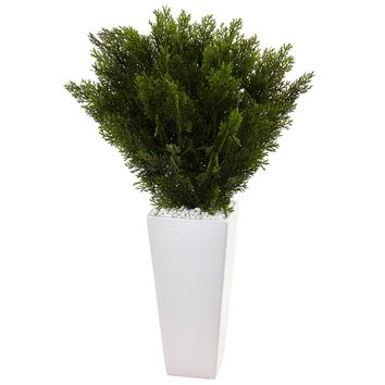 Artificial Plant -Cedar with White Tower Planter
