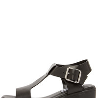 Steve Madden Stefano Black Leather Platform Sandals
