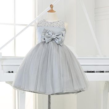 2016 Grey tulle Flower Girl Party Dresses Sequined Big Bow Tutu Princess Wedding Dress for Christmas Birthday clothes 12M-12Y