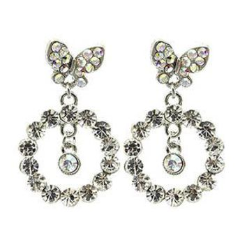 Circular Butterfly Metal Bead Earrings
