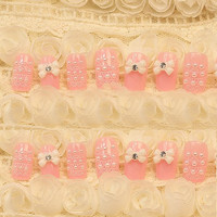 24 PCS Bowknot Design Faux Pearl Fake Finger Nails