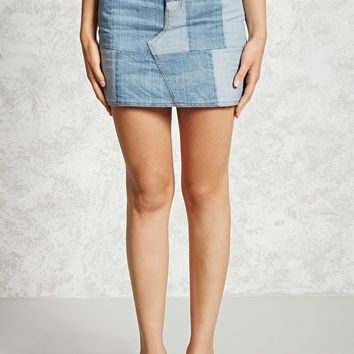 Patch Denim Skirt