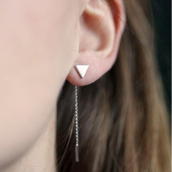 Smooth Triangle Chain Tassel Earrings
