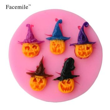 Facemile Halloween Pumpkin Imp Shape Silicone Mold Soap Fondant Candle Molds Chocolate Moulds Silicone Molds For Cakes 50-190