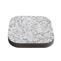 "Will Wild ""Marble"" White Gray Coasters (Set of 4)"