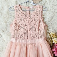 Laced in Sky Dress in Pink