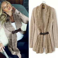 Brown PU Leather Sashes Knitted Scarf Collar Cardigan