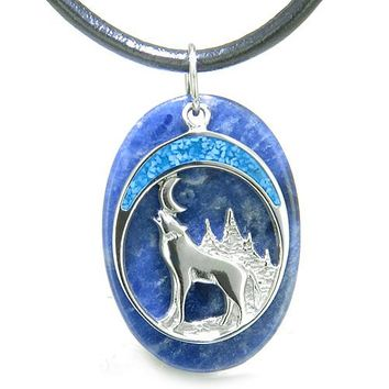 Howling Wolf and Moon Amulet Good Luck Powers Sodalite Gemstone Pendant on Leather Cord Necklace