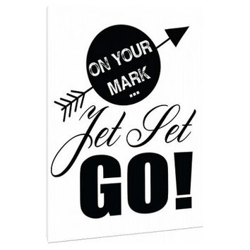 On your Mark, Jet Set, Go - Canvas- Custom Art Print - word art - wall art - home decor - coral - idom - fun saying - kate spade inspired
