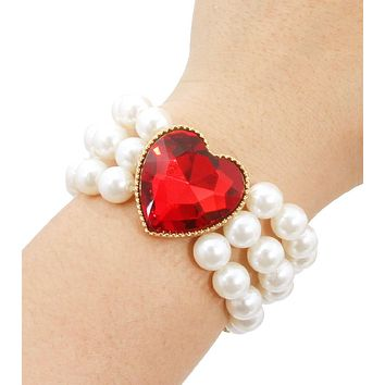 Red Heart Pearl Bracelet
