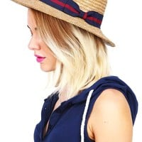 Wicker Ribbon Boater Hat
