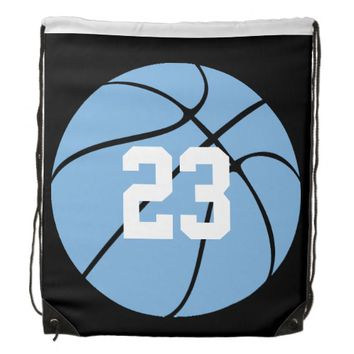 Carolina Blue Light Blue Custom Basketball Drawstring Bag