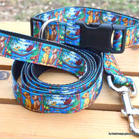 Adjustable dog collar & leash set. Disney's The Lion King on black webbing. Choose your size.