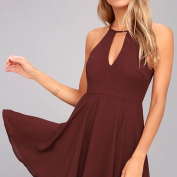 Glamorous Grace Burgundy Skater Dress