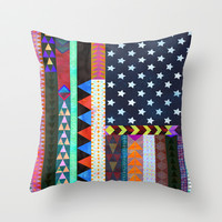 Boho America Throw Pillow by Schatzi Brown | Society6
