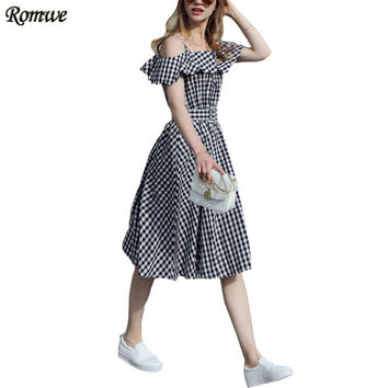 ROMWE Womens Black Checkerboard Fold Over Cold Shoulder Dresses Summer Off the Shoulder Plaid Knee Length A Line Dress