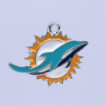 Sport Team Miami Dolphins Charm Pendants American Football Logo Jewelry Accessory For Fans Bangles Earring Necklaces Making DIY