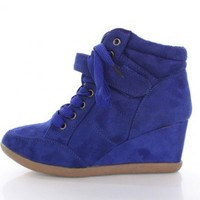Royal Blue Faux Suede Laced Up Mid Strap Sneaker Wedges @ Amiclubwear Wedges Shoes Store:Wedge Shoes,Wedge Boots,Wedge Heels,Wedge Sandals,Dress Shoes,Summer Shoes,Spring Shoes,Prom Shoes,Women's Wedge Shoes,Wedge Platforms Shoes,floral wedges,Fashion Wed