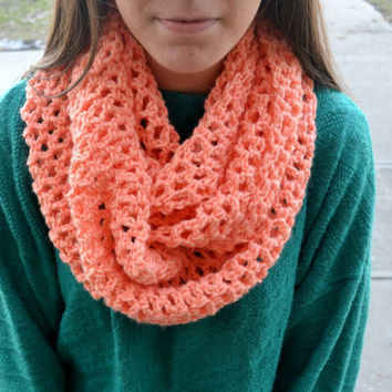 Peach Pink Crocheted Circle Scarf