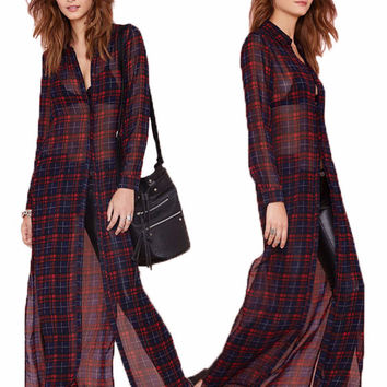 Plaid Chiffon Long Sleeve Slit Maxi Dress
