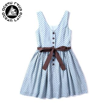 OCEAN LAND Spring And Summer Polka Dot Bow Tie Mini Dress Buttons Sleeveless Female Dress Cute Vestidos