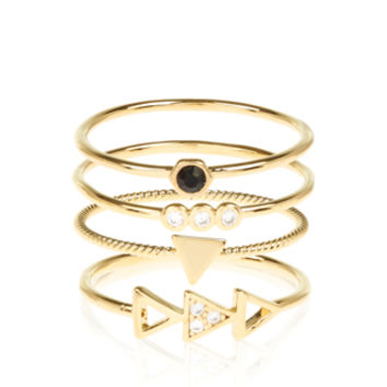 4 x Geo Triangle Stacking Ring Set | Clear | Accessorize