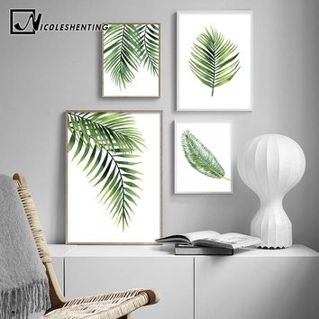 Scandinavian Watercolor Leaf Canvas Nordic Posters and Prints Green Plant Wall Art Painting Decorative Picture Modern Home Decor
