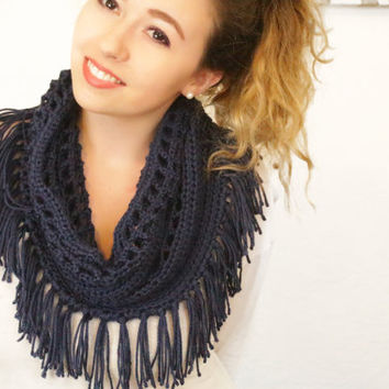 The Melody Crochet Fringe Scarf