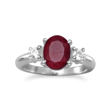 "Rough-Cut Oval ""Ruby"" and CZ Ring in Sterling Silver"