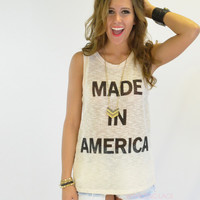 Made In America Taupe Knit Tank