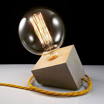 "Concrete Lamp ""Tilted Cube"" - Lighting - Classic grey concrete table lamp with textile cable, lightning"