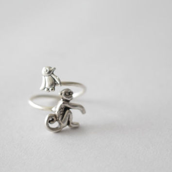 silver penguin monkey ring wrap style, adjustable ring