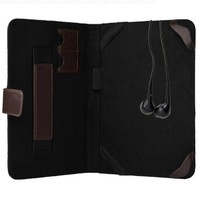 7 Inch Elegant Black and Chocolate Brown Portfolio case to fit your Samsung Galaxy NEXUS 7 with two SD card Slots soft fabric to keep from scratching your screen + Universal Earbuds