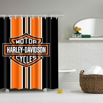 LFH Harley Davidson Logo Pattern Home Textile Bathroom Decoration Luxurious Cozy Lovely Decor Fabric Shower Curtain Non-Toxic