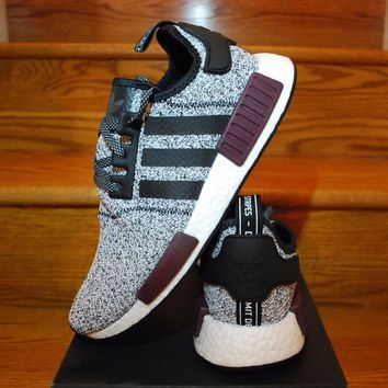 Adidas Nmd R1 Champs Exclusive Grey Burgundy Ba7841 Boost Sport Running Shoes Classic Casual Shoes Sneakers