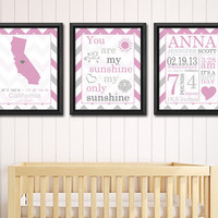 personalized baby stats chevron pink, birth date print, nursery subway, baby birth art, baby name art, nursery birth announcement set of 3
