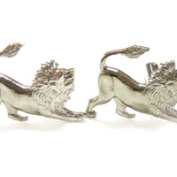 Silver Toned Lion Cufflinks
