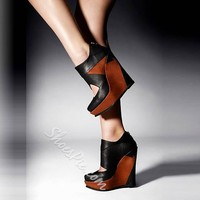 Shoespie Stylish Patchwork Wedge Heels- Shoespie.com