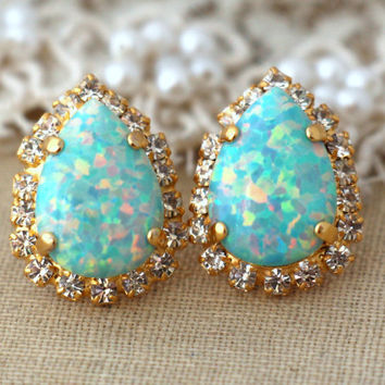 Mint Opal studs drop earrings swarovski earrings drop earrings,rhinestone studs, bridal jewelry-14 k Gold plated earrings green opal studs.