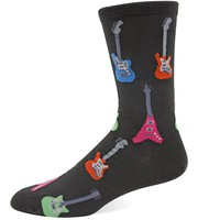 Hot Sox Men's Electric Guitars Crew Sock, Black, One Size