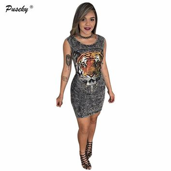 Puseky Women Casual Bandage Dress Ladies Bodycon Sleeveless Tiger Animal Print Club Short Hollow Out Mini Dress Summer Dress